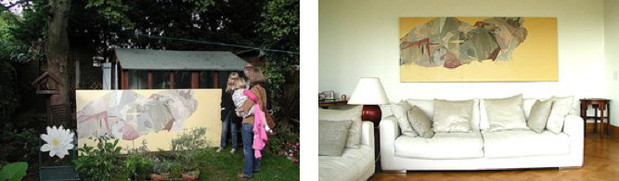 Viewing a large oil painting by Kitty Jenkins in her garden and then installed in our client's home in Guildford