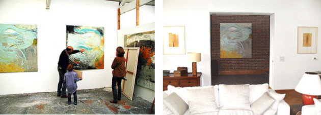 Visiting the studio of Day Bowman and the subsequent installation of one of her paintings in our client's Guildford home