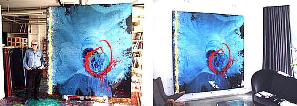 John Hoyland in his studio and 'Lost in blue' installed at the client's home in Queen's Park