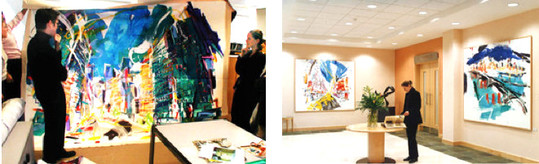 Viewing large paintings by Philip Mount at the designer's studio and the subsequent installation at Broadview reception