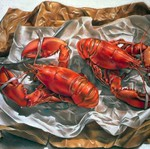 Sandra Lawrence Still life 'Lobsters' detail Acrylic on canvas