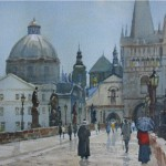 Bert Wright RSMA 'Prague' Watercolour Commisioned for AIG